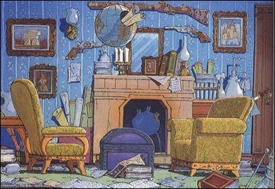 Entrañable dibujo de las habitaciones de Holmes y Watson