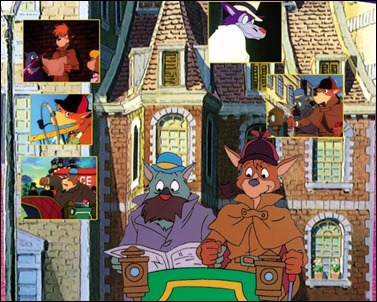 Sherlock, Watson y los principales personajes de la serie de Miyazaki