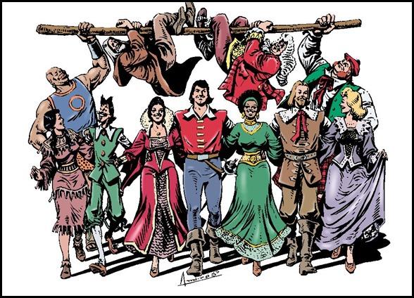Estupenda ilustración de Ambrós con los principales personajes de El Corsario de Hierro