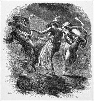 Las tres brujas de Macbeth, grabado de sir John Gilbert