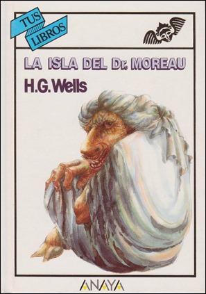Portada de la entrañable edición de La isla del dr Moreau en Tus Libros, de Anaya