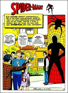 Página inaugural de Spider-Man, por Ditko