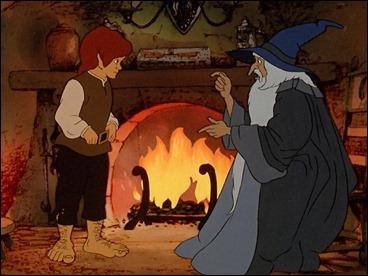 Gandalf relata a Frodo la historia del Anillo Único