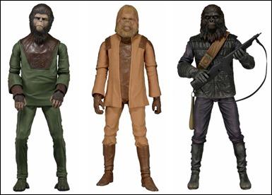 Merchandising del film con los tres diseños simiescos, o sea, chimpancés, orangutanes y simios