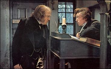 Scrooge y su empleado Bob Cratchit