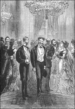 El encuentro entre Harry Blount y Alcide Jolivet en la fiesta del Palacio Nuevo, al inicio de Miguel Strogoff