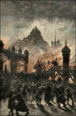 Estupendo grabado de Férat del asedio de Irkutsk