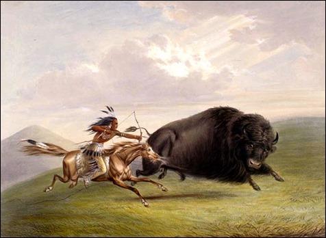 La caza del búfalo, por George Catlin