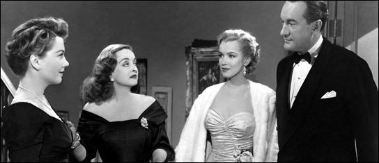 El trío estelar de Eva al desnudo... con la fugaz Marilyn Monroe en medio