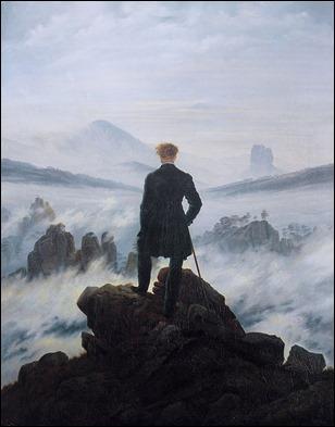 El viajero contemplando el mar de nubes, de Caspar David Friedrich