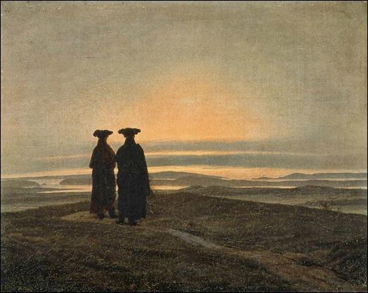 Paisaje al atardecer con dos hombres, de Caspar David Friedrich