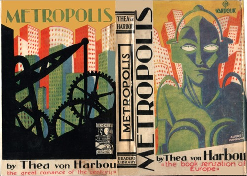 Portada de la edición inglesa de la novela Metrópolis, de Thea von Harbou