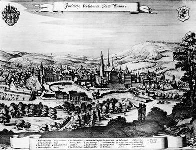 Grabado de la ciudad de Weimar