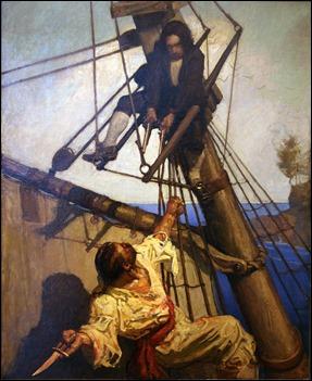 Jim Hawkins contra Israel Hands, por N. C. Wyeth