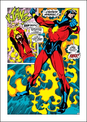 Rick Jones y el Capitán  Marvel, unidos por las negabandas. Dibujo de Gil Kane