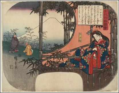 Ilustración de El cuento del cortador de bambú, por Hiroshige