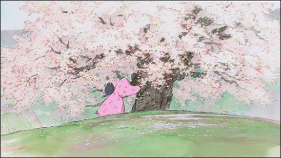 La princesa Kaguya sumergida bajo el cerezo