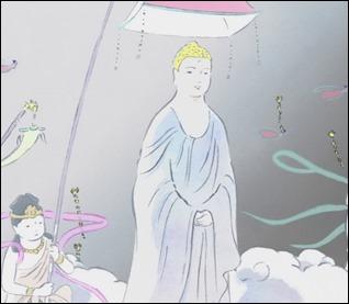 Un Buda desciende de la luna para recoger a Kaguya