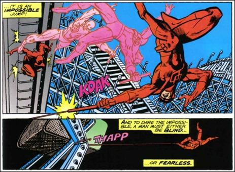 El recurso habitual de Miller para indicar los movimientos acrobáticos de Daredevil