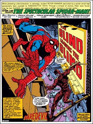 La primera página de Daredevil dibujada por Frank Miller, en las páginas de Spectacular Spider-Man