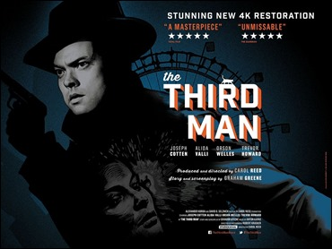 Poster de El tercer hombre, que resalta la implicación en el film de Orson Welles