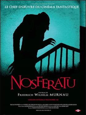 Cartel francés del Nosferatu de Murnau que resalta la sombra monstruosa del conde Orlok