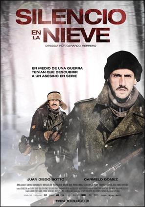Vulgar cartel de la película Silencio en la nieve, basada en El tiempo de los emperadores extraños