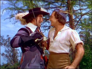 Gene Kelly como D'Artagnan, la perpetua sonrisa en los labios y la infalibilidad con la espada