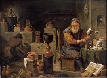El alquimista, cuadro de David Teniers