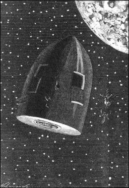 El proyectil flotando en el espacio