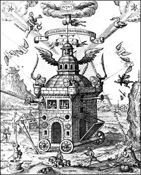 El Templo de la Rosacruz, grabado de 1618 por Teofilus Schweighartd Constantiens
