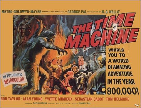 Estupendo poster de El tiempo en sus manos, adaptación en Hollywood de La máquina del tiempo