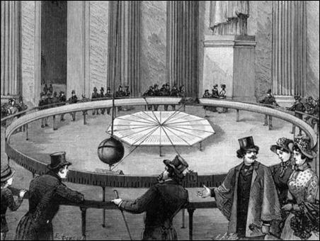 Grabado que recoge la primera demostración del péndulo, por Foucault, en el Panteón, en 1851