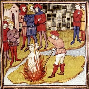 La quema de los templarios en París, grabado medieval