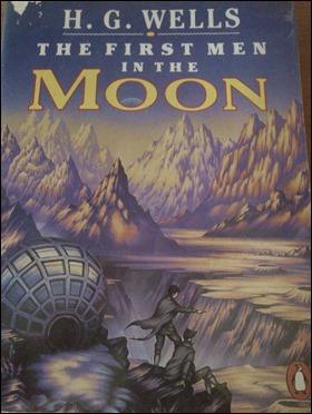 Otra bonita portada de Los primeros hombres en la luna, de Wells