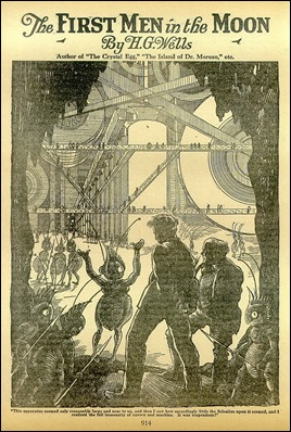 Portada antañona de Los primeros hombres en la luna, de Wells