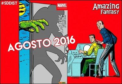 Cubierta de la reciente edición de Amazing Fantasy en Panini, con un dibujo de Steve Ditko
