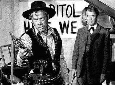 Lee Marvin y James Stewart en El hombre que mató a Liberty Valancee
