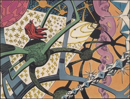 Una de las dimensiones mágicas por donde el Doctor  Extraño suele darse un paseo. Viñeta de Strange Tales 138, por Steve Ditko