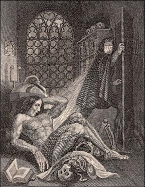 Ilustración de Theodor von Holst para la cubierta de la edición de Frankenstein de 1831