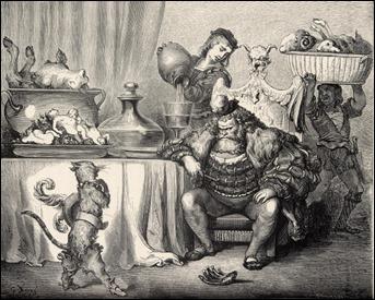 El gato con botas ante el Ogro, por Doré