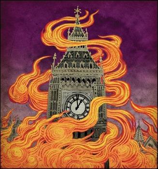 Ilustración de Yuko Shimizu para la portada de la edición Penguin de La nube púrpura