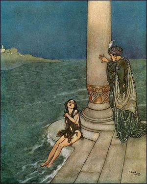 La sirenita, por el ilustrador francés Edmund Dulac