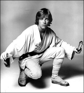 El rubio Mark Hamill como el noble Luke Skywalker