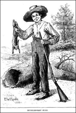 Huck Finn, ilustrado por E. W. Kemble para la primera edición de la novela