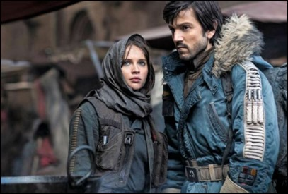 Los anodinos Jyn y Cassian de Rogue One, o sea, Felicity Jones y Diego Luna