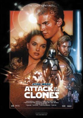 Poster de El ataque de los clones, centrado en la pareja Anakin-Amidala