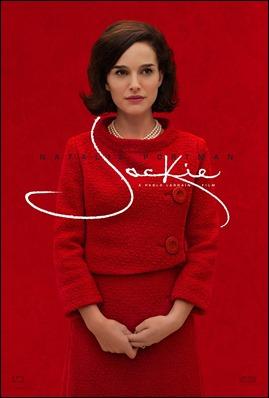 Cartel anunciador de Jackie, con Natalie Portman mimetizada con el fondo