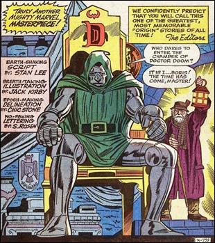 Ilustración inicial del  anual 2 de Fantastic Four, con el origen definitivo del Doctor Muerte