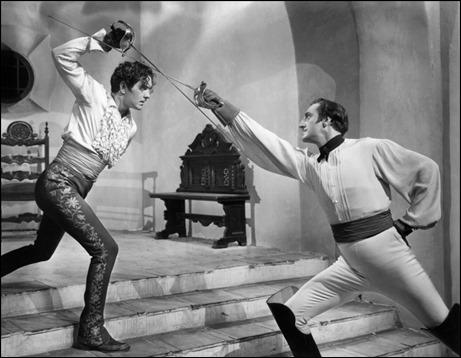 Imagen de El signo del zorro, Tyrone Power vs Basil Rathbone